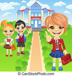Vector happy smiling schoolchildren girls and boy - Smiling...