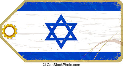 Vintage label with the flag of Israel