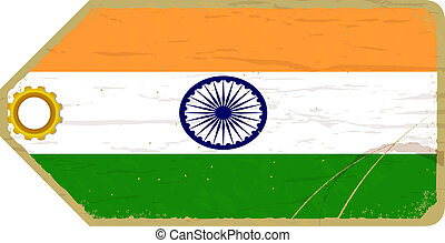 Vintage label with the flag of India
