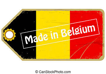 Vintage label with the flag of  Belgium