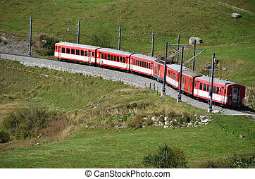 Alpine express at Furka pass, Switzerland