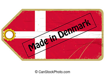 Vintage label with the flag of  Denmark