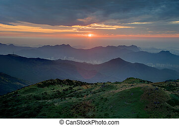 Sunrise in Hillside - Sunrise in Tai Mo Shan, Hong Kong