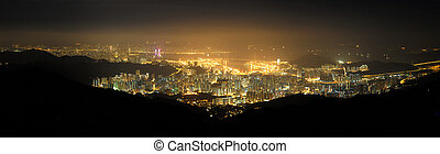 Hong Kong Victoria Harbour and Tsuen Wan at night from Tai...