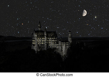 Castle Cinderella at night with moon