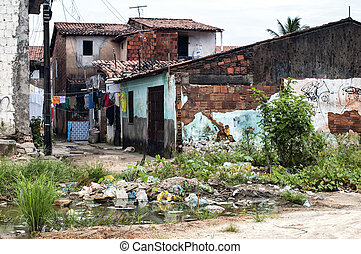 Favela: poverty and neglect - Poor neighborhood in the...