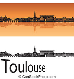 Toulouse skyline in orange background in editable vector...