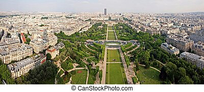 skyline cityscape view of champ de mars park with military...