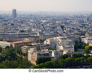 Paris city aerial panoramic bird eye view