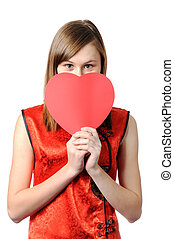 Valentine wish - Smyling beauty teenager girl holding red...