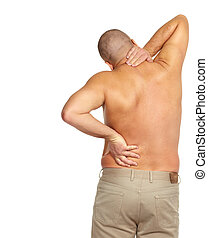 Man with a back pain. Health care concept.