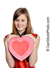 Valentine heart - Happy teenager girl holding red heart,...