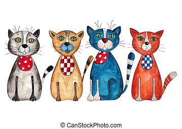 Cats. Watercolors on paper - Artistic work. Acrylic and...