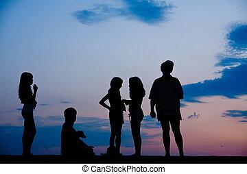 Children in sunset - Shades of children in blue sunset shot...