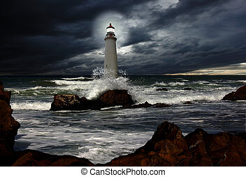 lighthouse and storm
