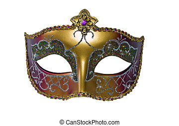 Carnival mask gold color with stars. Isolated