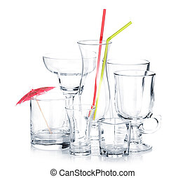 Cocktail glasses with drinking straws and umbrella Isolated...