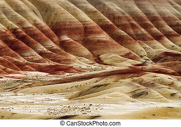 The Geology in Painted Hills Oregon State - A Tight Shot of...