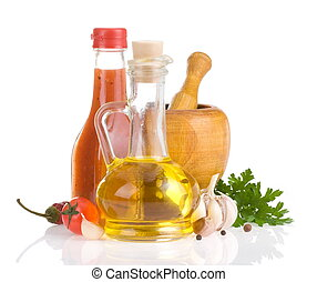 food ingredients and spices on white - food ingredients and...