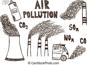 Air pollution doodle - Illustration of air pollution doodle...