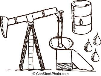 Oil - petrol doodles - Illustration of petrol doodle...