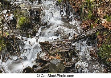 Small Stream with Icicles in Winter