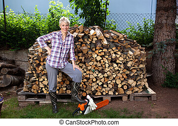 Firewood - Woman with Firewood