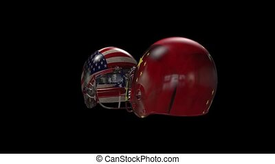two helmets collide - two football helmets collide with the...