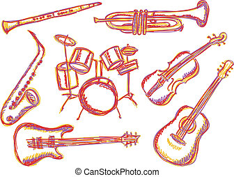Music instruments doodles - Illustration of music...