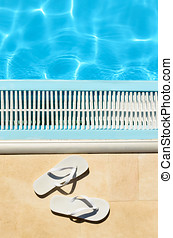 Flipflops summer pool - Summer concept with white flipflops...