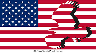 Striped American flag - A silhouette of an eagle on the...