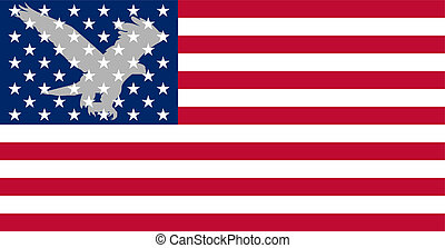 American flag 2. - A silhouette of an eagle on the...