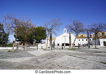 the city Huelva, trees in winter - Winter in Park Moret, one...