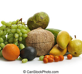 Tropical Fruits - Fresh Tropical Fruits On White Background