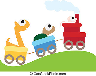 animal train background - three little animals ridding on a...