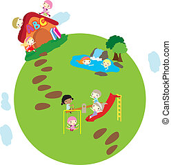 children earth background - happy little children playing on...