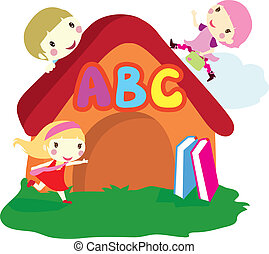 children and house background - three children around the...