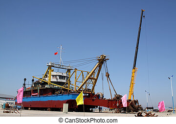 cutter suction dredger in a shipyard