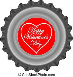 Valentine's bottle cap behind