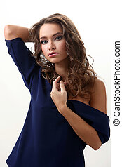 Young latino woman with curls - Young beautifil latino woman...