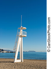 Watchtower on Campello resort beach, Costa Blanca, Spain