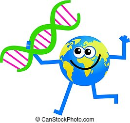 dna globe - Happy cartoon world globe man holding a dna...