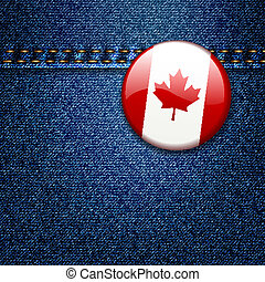 Canadian Flag Badge on Denim Fabric Texture - Bright...
