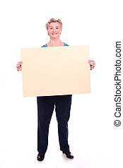 Happy old lady with table isolated on whitebackground