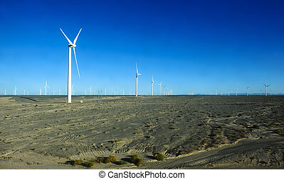 new energy source of wind power windmills in the wide Gobi...