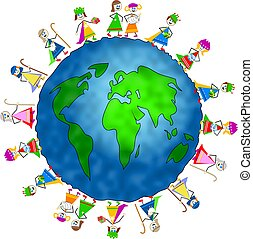 global nativity kids - World globe surrounded by children...