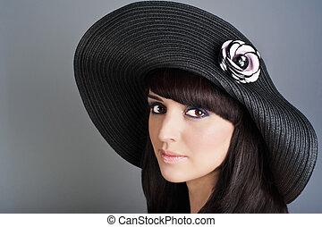Portrait of beautiful woman in modern hat