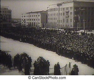 The funeral of Stalin in the USSR. Newsreel.