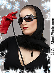 lady in red gloves with crop - portrait of lady in black...