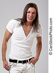 Young sexy man with long hair